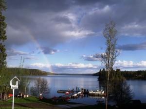 guests enjoying a spring rainbow