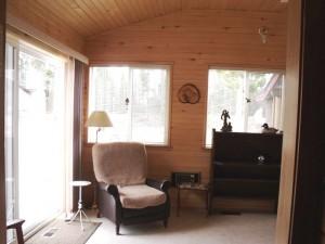sitting area in mud room